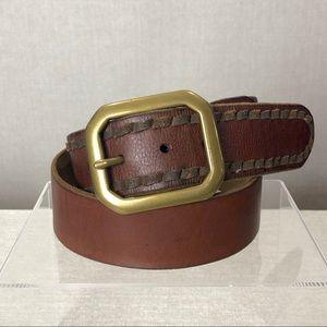 LUCKY BRAND Brown Leather Brass Buckle Belt 32